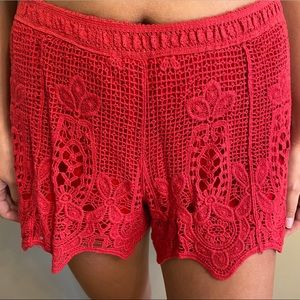 Francesca's Collections Red Crochet Shorts